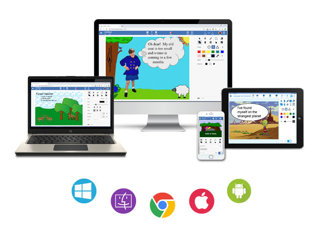 Wixie works on Chromebooks, iPhones and iPads, Android, Mac, and Windows.