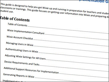 Wixie implementation guides to help get you started.